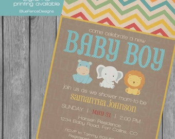 jungle baby boy shower invitation, jungle animals, hippo, elephant, lion, chevron, vintage, burlap, chevron, shabby chic, vintage, bluefence