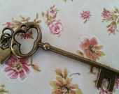 Antiqued Vintage Bronze Key Necklace