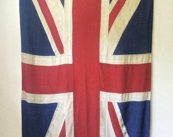 "Antique Wool British Union Jack Flag 43"" x 91"""