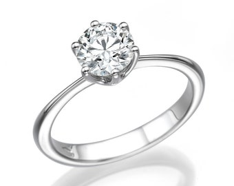 Classic Engagement Ring, 14K White Gold Ring, Diamond Ring, Solitaire Engagement Ring, 0.91 CT Diamond Engagement Ring