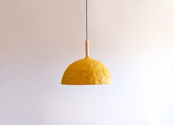Paper mache lamp bell yellow lamp pendant light by for How to make paper mache lamps