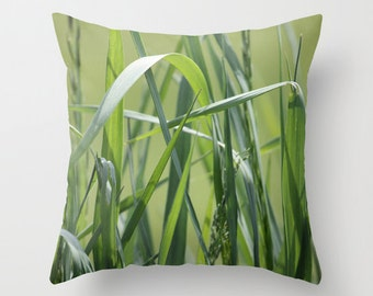 Green Grass, Pillow Cover, 16x16, 18x18, 20x20, home decoration, interior design, shades of green, Country Living,  Seasons, Summer Decor