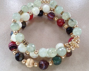 Set of three fancy and multicolored beaded bracelets