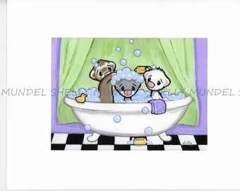 """Art by Shelly Mundel. Ferret People Collection """"Lather Rinse Repeat"""""""