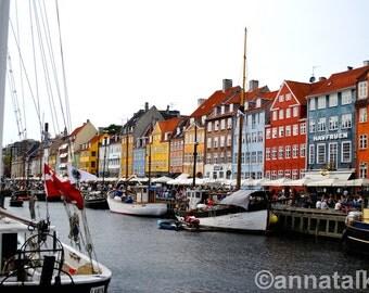 Boat Scene in Nyhavn, Denmark. Photograph print.