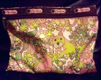 Vintage Pink And Green Funky Jungle Pattern Lesportsac Cosmetic Toiletry Bag