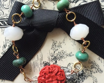 Red White and Turquoise Mixed Metal  Bracelet