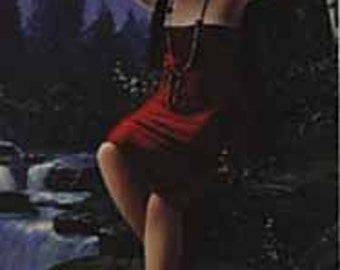 MAIDEN BY WATERFALL - Lithograph - Artist Not Known