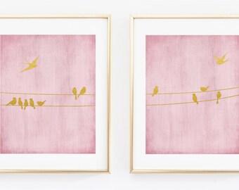 Birds on the Wire set of 2 prints, Pink and Gold Nursery, Wall Art ,Nursery Decor, Foil Art, Wall Art, Metallic Print