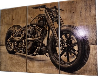 Harley Davidson Fatboy / Softail / Motorcycle / Bike Print Wood Painting / Wall Art on Stained Solid BIRCH 3/4 inch thick Gift for Him / Her