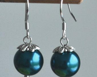 teal earrings,teal glass bead earrings,8mm or 10mm teal pearl earring,teal dangling earrings,teal color earrings,wedding earrings, dangling