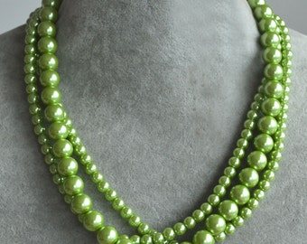 grass green pearl necklace,3 strands glass pearl necklace,grass green bead necklace,grass green green necklace,wedding statement necklace