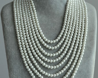 eight strands pearl Necklace,16-26 inch 8 row 6mm Pearl Necklace,multi-strand pearl necklace,statement necklace,pearl with silverclasp