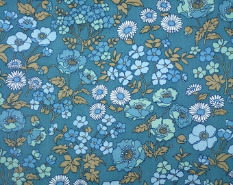RESERVED - Scandinavian VINTAGE BLUE Floral - Small Pattern Wallpaper