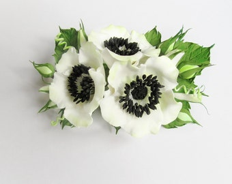 White, Ivory Anemones Hair clip. Wedding hair accessories