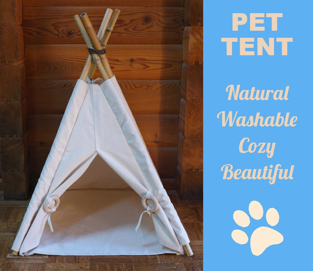 Cat dog teepee pet tent natural canvas cat house by for Diy cat teepee
