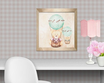 art print , Kids wall art - baby nursery decor - nursery wall art - children wall art - - print teddy bear air ballon