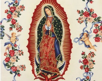 Virgin of Guadalupe in Natural 100% Cotton Fabric, Metallic by Alexander Henry