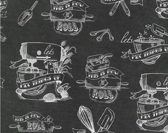 CHARCOAL by Mary Urban from In The Kitchen Robert Kaufman Fabric