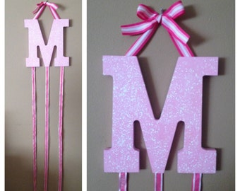 Initial Handpainted Glitter Faced Bow Holder