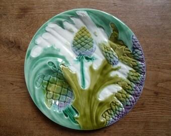 french majolica 1900 St Clément ,  asparagus , artichoke plate ,handpaint , perfect condition