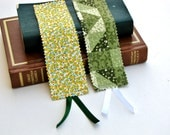 Fabric bookmark with ribbon - set of two fabric bookmarks - yellow, green - floral - gift set - cloth bookmark lot