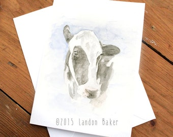 Dairy Cow - Watercolor Greeting Card A2