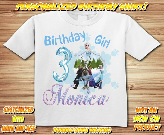 Personalized Disney Frozen birthday t-shirt - Elsa, Anna, Olaf, Sven