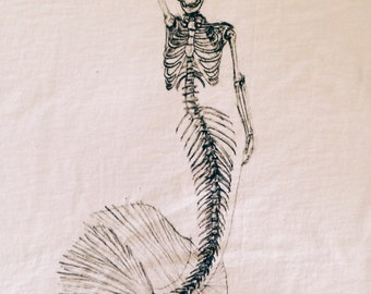 Mermaid Skeleton Sketch T
