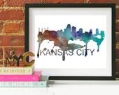 Kansas City Art, Kansas City Skyline, Kansas City map, Kansas City skyline, Kansas City map print