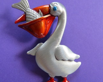 JJ Jonette Silver Pewter Pelican Eating A Fish Brooch Pin