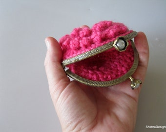 Fuchsia Crochet Frame Coin Purse w/ Decorated Clasp, Valetine's Day Gift