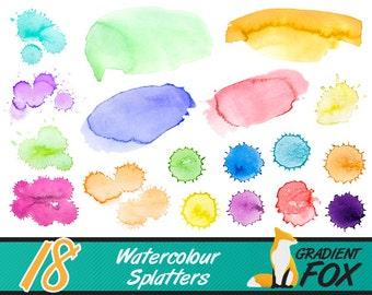 18 Watercolor Paint Splatters Texture Kit - PNG - INSTANT DOWNLOAD