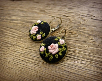 Rose Garden Earrings - Black and Pink - felted earrings, bohemian earrings, embroided earrings, traditional techniques, handmade jewelry