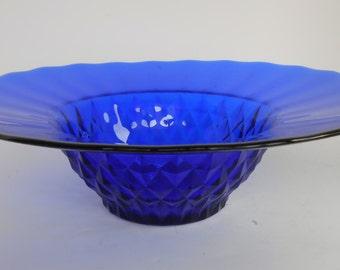 Large Cobalt Blue Bowl. Serving or Table Decor. Candle Holder