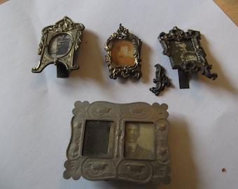 4 x antique miniature photo frames