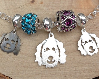 Large Clyde Goldendoodle - Labradoodle Pendant / Charm Bead fits popular bead bracelets - Silver - Part of the Clyde Fundraiser Collection