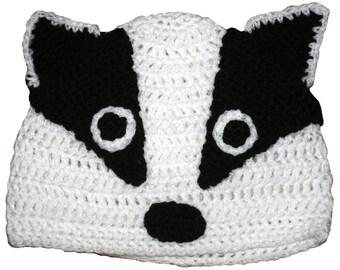 Hand Crocheted Badger Hat