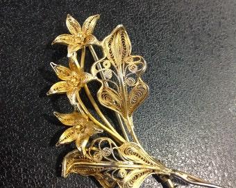 Silver gilt filigree flower spray brooch