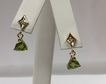 Natural Peridot with Natural Diamond Dangle Earrings Solid 14kt Yellow gold