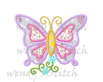 Flower butterfly applique #2 machine embroidery design instant download