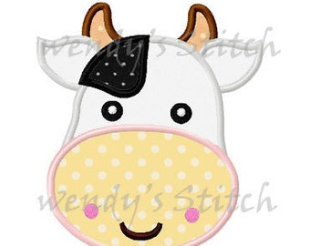 farm cow applique machine embroidery design instant download