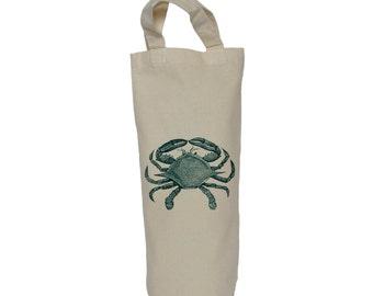 Wine tote, bottle bag, crab cotton bag, gift bag