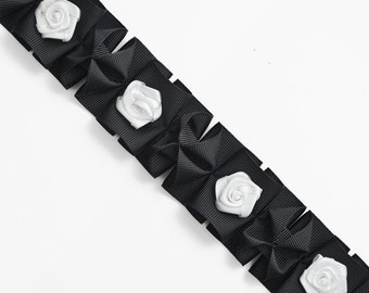 """1-1/2"""" BLACK Pleated Grossgrain Ribbon Trim with White Flowers by 1-yard, TR-10504"""