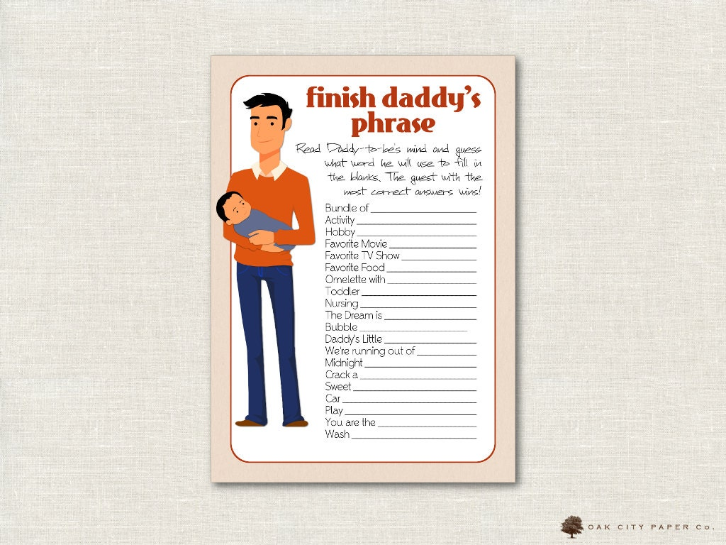 finish daddy 39 s phrase game daddy baby shower game dad