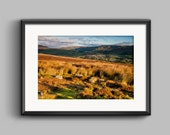 Colour landscape photograph of Swaledale Sunrise / Yorkshire / fine art / print / golden / countryside / village / English / wall art