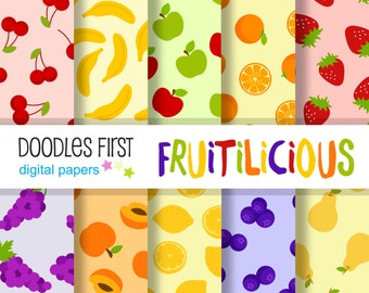 Fruitilicious Digital Paper Pack Includes 10 for Scrapbooking Paper Crafts