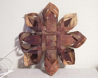 Swedish Vintage Woven Birch Bark Lamp, Handmade Organic Lamp Shade, Hanging Lamp, Birch Bark Wall Decor @105
