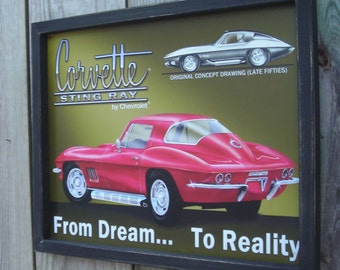 Wood Framed Reproduction Tin Sign, CORVETTE Stingray, From Dream... To Reality 17 1/4 by 13 1/2 inches., Free Shipping