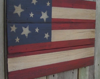 Weathered Aged Wooden Americana Flag, 12 X 18 inches. Made from recycled wood.